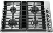 """KCGD500GSS KitchenAid 30"""" 4 Burner Gas Downdraft Cooktop with 300 CFM and 3-Speed Fan Control - Stainless Steel"""
