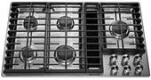 """KCGD506GSS KitchenAid 36"""" 5 Burner Gas Downdraft Cooktop with 300 CFM and 3-Speed Fan Control - Stainless Steel"""