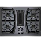 "PGP9830SJSS GE Profile Series 30"" Built-In Gas Downdraft Cooktop with 4 Burners - Black on Stainless Steel"