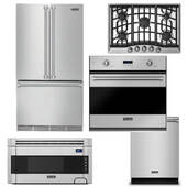 Package Viking V5 - Viking Appliance Package - 5 Piece Luxury Built In Appliance Package with Gas Cooktop - Stainless Steel
