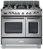 """VCLFSGE365DSS Verona Classic 36"""" Dual Fuel double Oven Range with 5 Sealed Burners - Stainless Steel"""