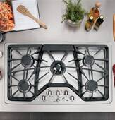 """CGP650SETSS GE Cafe 36"""" Built In Gas Cooktop - Stainless Steel"""