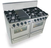 """TPN510-7BW FiveStar Five Star 48"""" Pro Style Gas Range with Open Burners - Liquid Propane - Stainless Steel"""