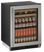 "1024BEVS-00B U-Line 1000 Series 24"" Beverage Center - Field Reversible - Stainless Frame"