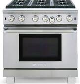 """ARROB-636N American Range Performer 36"""" All Gas Range with 6 Open Bruners & Convection Oven - Natural Gas - Stainless Steel"""