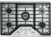 "CGP95302MS1 GE 30"" Cafe Series Built-In Gas Cooktop with 5 Sealed Burners and Dishwasher Safe Grates - Stainless Steel with Brushed Stainless Knobs"