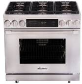 "HDPR36SNG Dacor 36"" Heritage Collection Natural Gas Dual Fuel Pro Range with Pro Handles Illumina Burner Controls - Stainless Steel"
