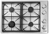 "HPCT304GSLP Dacor 30"" Heritage Collection 4 Burner Liquid Propane Gas Cooktop with PermaClean Bead Blasted Finish and Illumina Burner Controls - Stainless Steel"