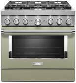 KFDC506JAV KitchenAid 36 Inch Smart Commercial-Style Dual Fuel Range with 6 Burners - Avocado Cream