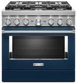 KFDC506JIB KitchenAid 36 Inch Smart Commercial-Style Dual Fuel Range with 6 Burners - Ink Blue