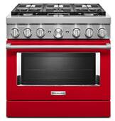 KFDC506JPA KitchenAid 36 Inch Smart Commercial-Style Dual Fuel Range with 6 Burners - Passion Red