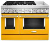 KFDC558JYP KitchenAid 48 Inch Smart Commercial-Style Dual Fuel Range with 6 Burners and Griddle - Yellow Pepper