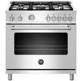 "MAST365DFMXE Bertazzoni 36"" Master Series Free Standing  5 Burner Dual Fuel Range with Counter Deep Main Top and Electric Oven - Stainless Steel"