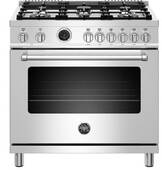 "MAST366DFSXT Bertazzoni 36"" Master Series Free Standing 6 Burner Dual Fuel Range with Counter Deep Main Top and Self Clean Oven - Stainless Steel"