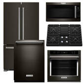 Package KitchenAid KB4 - KitchenAid Appliance - 5 Piece Built-In Appliance Package with Gas Cooktop - Black Stainless Steel