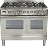 "UPDW1006DMPI Ilve Pro Series 40"" Dual Fuel Range with 6 Burners and Double Oven - Stainless Steel"