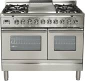 "UPDW100FDMPI Ilve Pro Series 40"" Dual Fuel Range with 5 Burners + Griddle and Double Oven - Stainless Steel"