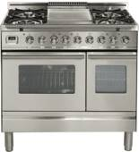"UPDW90FDMPI Ilve Pro Series 36"" Dual Fuel Range with 5 Burners + Griddle and Double Oven - Stainless Steel"