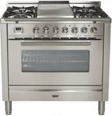 """UPW90FDMPI Ilve Pro Series 36"""" Dual Fuel Range with 5 Burners + Griddle and Single Oven - Stainless Steel"""