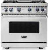 """VDR73624GSS Viking 36"""" Professional 7 Series Dual Fuel Range with Vichrome Griddle and Viking Elevation Burners - 4 Burners - Natural Gas  - Stainless Steel"""