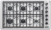 """VGSU53616BSS Viking 36"""" Professional 5 Series Natural Gas Cooktop with 6 Burners and SureSpark Ignition System - Stainless Steel"""