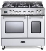 "VPFSGE365DW Verona 36"" Prestige Series Dual Fuel Double Oven Range with 5 Sealed Gas Burners and 2 European Convection Ovens - White"