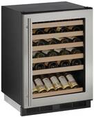 "1224WCS-13B U-Line 1000 Series 24"" Wide Wine Captain with Digital Cooling - Field Reversible with Lock - Stainless Steel Frame"