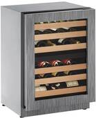 "2224ZWCINT-00B U-Line 2000 Series 24"" Wide Wine Captain with Independently Controlled Dual Zones - Reversible Hinge - Integrated Frame Custom Panel"