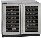 "3036WCWCS13B U-Line 3000 Modular Series 36"" Wine Captain with Independently Controlled Dual Zones - Double Doors with Lock - Stainless Steel"
