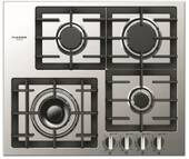 """F4GK24S1 Fulgor 24"""" 400 Series Built-In Frontal Knob Gas Cooktop with Heavy Duty Cast Iron Grates and European Sealed Burners - Stainless Steel"""
