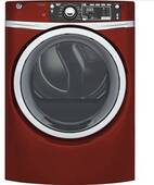 """GFD48GSPKRR GE 28"""" GE 8.3 Cu. Ft. Capacity Front Load Gas Dryer with Sanitize Cycle and Steam Refresh - Ruby Red"""