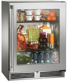 """HH24RS34R Perlick 24"""" Wide Shallow Depth Refrigerator with Wood Overlay Glass Door, Right Hinge & ADA Compliant - Stainless Steel"""