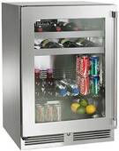 """HP24BO34L Perlick 24"""" Signature Series Outdoor Stainless Beverage Center with Integrated Wood Overlay Glass Door - Left Hinge"""
