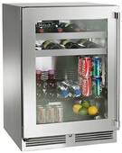 """HP24BS33L Perlick 24"""" Signature Series Stainless Beverage Center with Stainless Steel Glass Door - Left Hinge"""