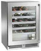 """HP24WO34L Perlick 24"""" Signature Series Outdoor Stainless Wine Reserve with Integrated Overlay Glass Door - Left Hinge"""