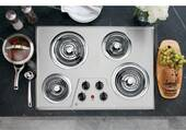 "JP328SKSS GE 30"" Built-In Electric Cooktop - Stainless Steel"