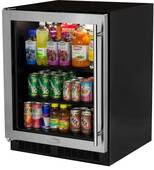 """MA24BCG1LS Marvel 24"""" Low Profile ADA Height Beverage Center - Left Hinge - Stainless Steel & Glass"""