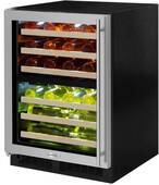 "ML24WDG3LB Marvel 24"" Left Hinge High Efficiency Glass Frame Door Dual Zone Wine Refrigerator with Vibration Neutralization System and Thermal Efficient Cabinet - Black"