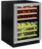 """ML24WDG3RS Marvel 24"""" Right Hinge High Efficiency Glass Frame Door Dual Zone Wine Refrigerator with Vibration Neutralization System and Thermal Efficient Cabinet - Stainless Steel"""