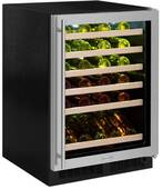 "ML24WSG3RB Marvel 24"" Right Hinge High Efficiency Glass Frame Door Single Zone Wine Refrigerator with Vibration Neutralization System and Thermal Efficient Cabinet - Black"