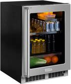 "MP24BRF4LP Marvel 24"" Professional Left Hinge Glass Frame Door Beverage Center with MaxStore Bin and Dynamic Cooling Technology - Custom Panel Ready"