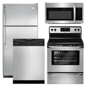 Package Frigidaire 15 - Frigidaire Appliance Package - 4 Piece Appliance Package with Top Mount Refrigerator and Electric Range - Stainless Steel