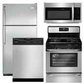 Package Frigidaire 16 - Frigidaire Appliance Package - 4 Piece Appliance Package with Top Mount Refrigerator and Gas Range - Stainless Steel