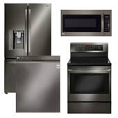 Package LG BD1 - LG Appliance Package - 4 Piece Appliance Package with Electric Range - Black Stainless Steel