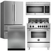 "Package Bertazzoni Bert1 - Bertazzoni Appliance Package - 4 Piece Luxury Package with 30"" Dual Fuel Range - Stainless Steel"
