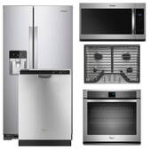 Package Whirlpool 35 - Whirlpool Appliance Built-In Package - 5 Piece Appliance Package with Gas Cooktop - Stainless Steel