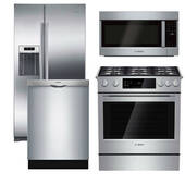 Package Bosch B6 - Bosch Appliance Package - 4 Piece Appliance Package with Gas Range - Stainless Steel