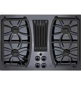 "PGP9830DJBB GE Profile Series 30"" Built-In Gas Downdraft Cooktop with 4 Burners - Black"