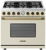 "RD361GCCB Superiore 36"" DECO Gas range with Classic Door and Extra Large Gas Oven - Cream with Bronze Accent"