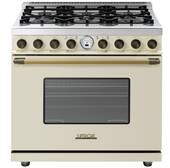 "RD361SCCB Superiore 36"" DECO Series Dual Fuel Free Standing Range with Self Clean Oven and 6 Brass Burners - Cream with Bronze Accent"